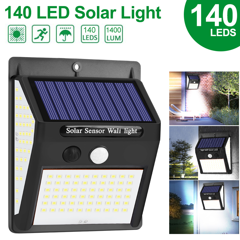140 LED Solar Power Light Wall Lamp 3 Modes Human Body Sensor Waterproof Emergency Energy Saving Outdoor Garden Yard Lamps