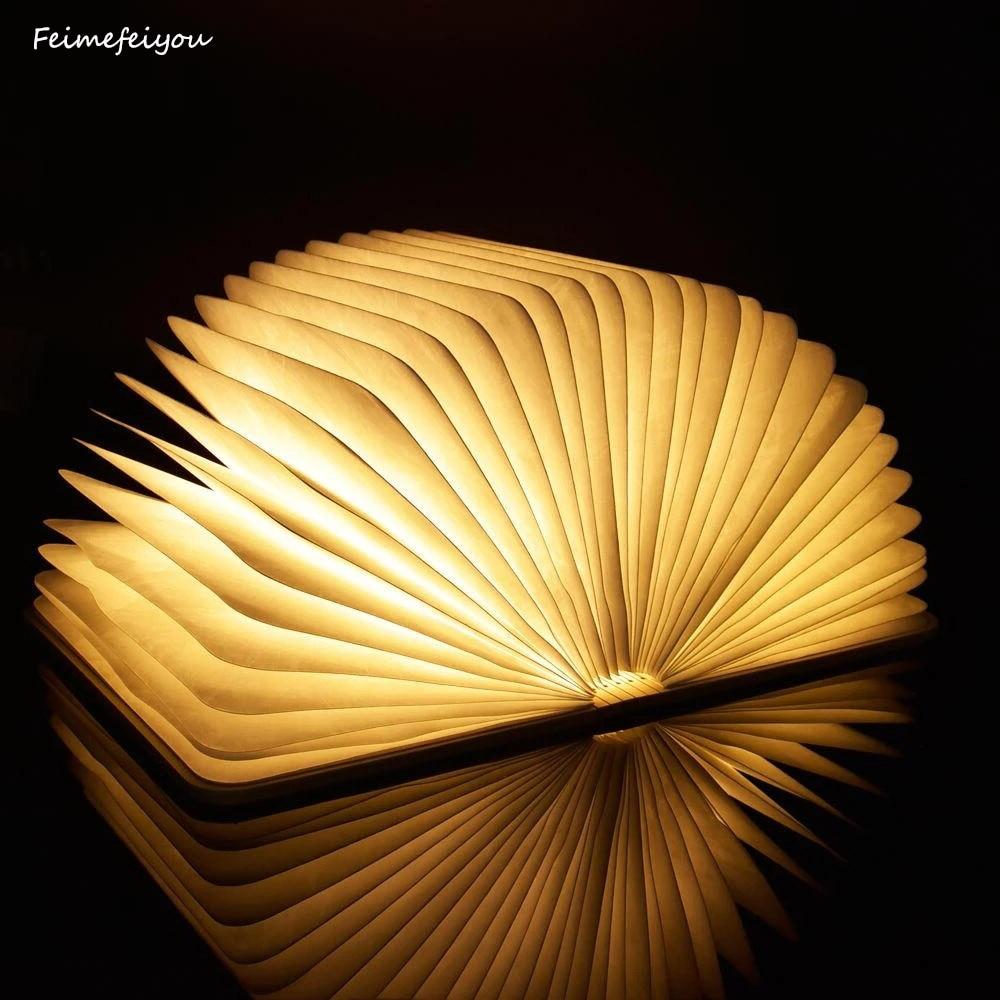 USB Charging Night Light LED Book Light New Portable Wood Grain Creative Book Gift Flip Folding Mini Colorful Christmas Light