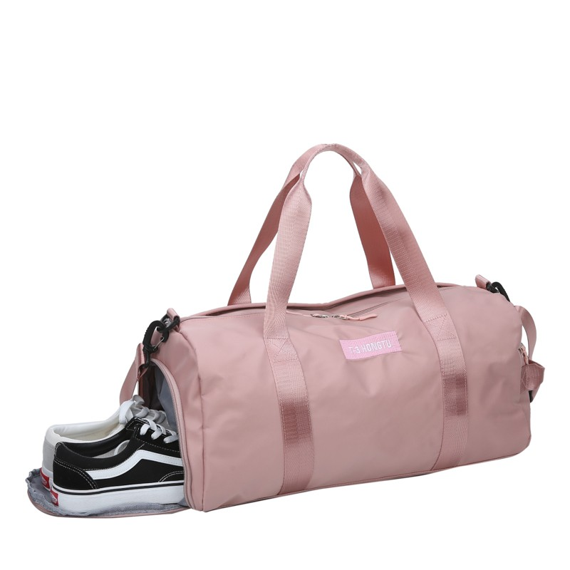 2019 New Soft Oxford Cloth Women Travel Bag Solid Color Men Sports Bag Can Put Shoes Round Convenient Fitness Bags