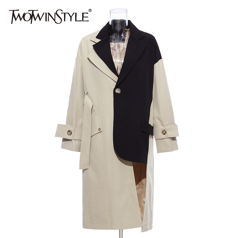 TWOTWINSTYLE Patchwork Hit Color Women's Windbreakers Lapel Collar Long Sleeve High Waist Irregular Trench Coats For Female Tide