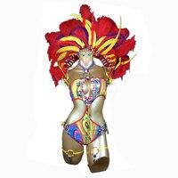 Sexy Customized Samba Rio Carnival Costume Mulit colors Feather Head Piece Bra Belt Armband Legband Necklace Belly Costume Set