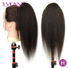 [Yvonne] Kinky Straight Drawstring Ponytail Human Hair Clip In Extensions High Ratio Brazilian Virgin Hair Natural Color(China)