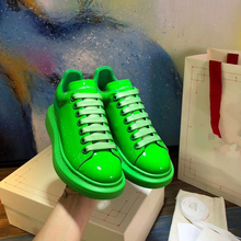 Candy Color Women Sneakers Patent Leather Round Toe Lace Up Casual