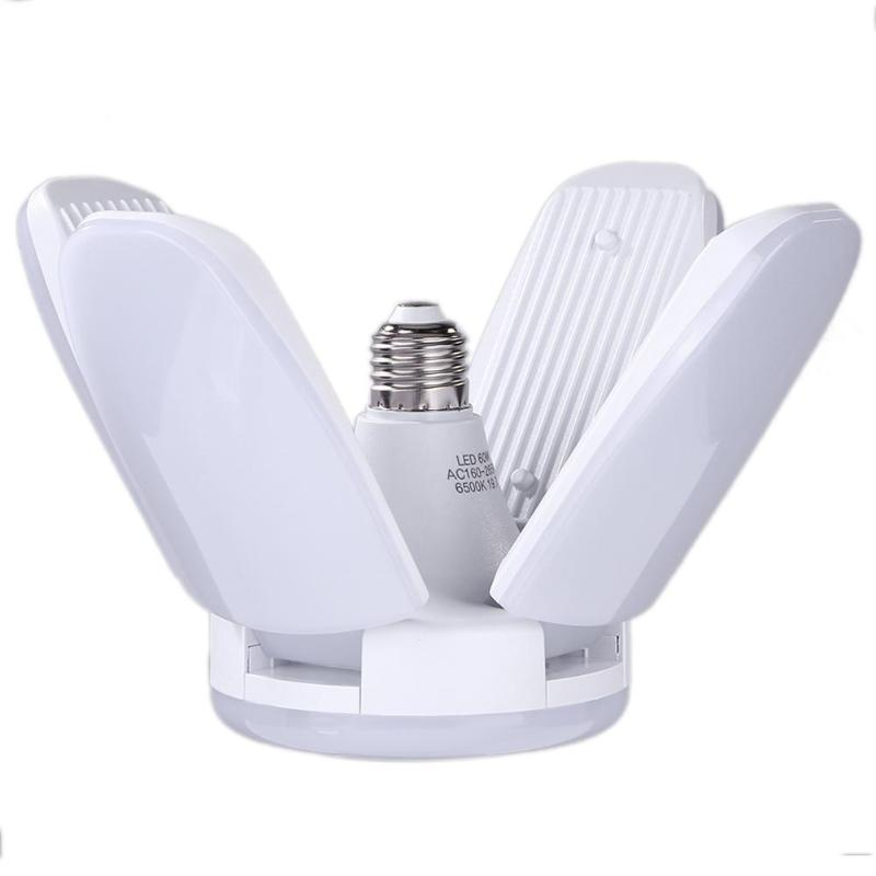 60W Foldable <font><b>Fan</b></font> Blade LED Pendant Lights No Flicker E27 LED Bulb 160-265V 360 Degrees Angle Adjustable 6000K Ceiling Lamp image