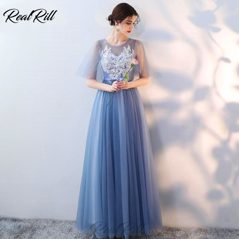 Real Rill Bateau Illusion Neck Bridesmaid Dresses Tulle Lace Up Back A Line Floor Length Wedding Party Dress With Applique