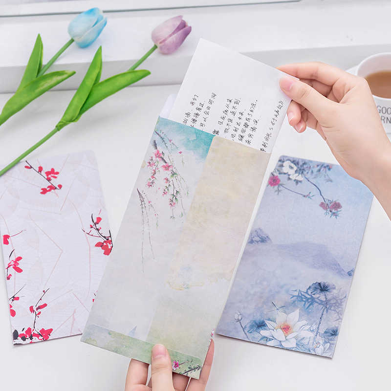 Estilo chinês do vintage papel envelope bonito kawaii kraft carta papel presente envelopes para crianças coreano artigos de papelaria material escolar