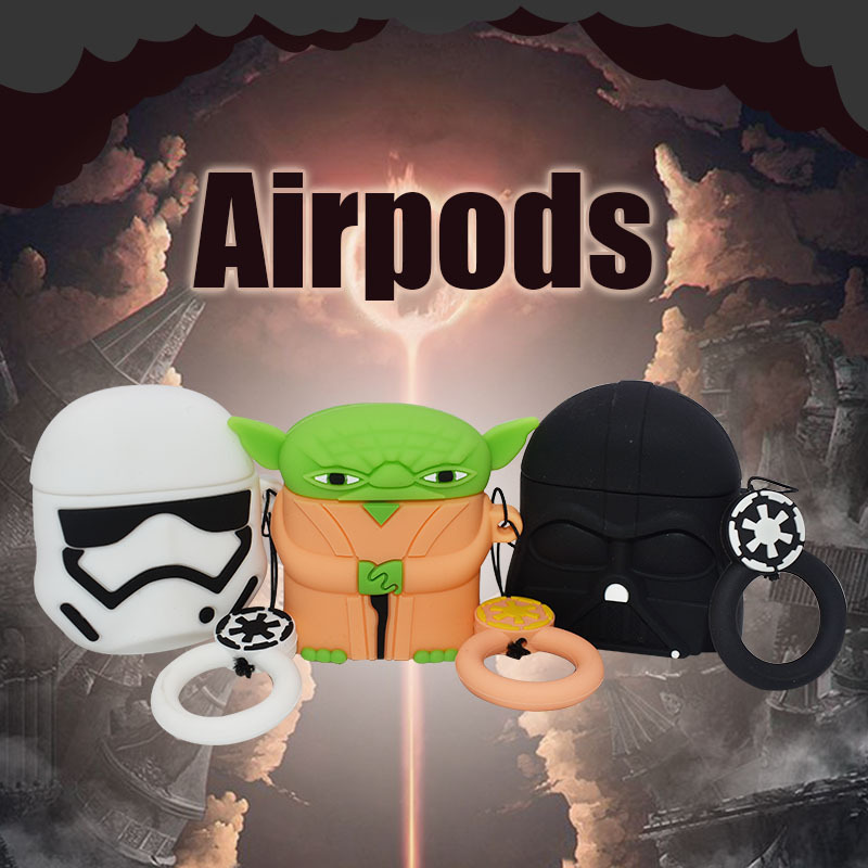 Applicable To Airpods1 2 Bluetooth Headset Cartoon Silicone Case Airpods Star Wars Headset Set