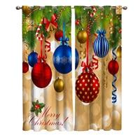 Merry Christmas árbol cortina para decoración de ventana, Navidad, dormitorio, decoración de tela, cortinas para sala de estar