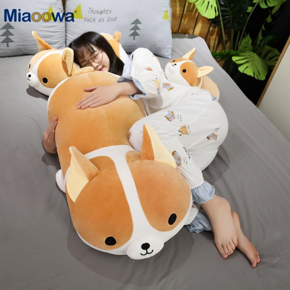 45-90cm Giant Size Cute Corgi Dog Plush Toys Stuffed Animal Puppy Dog Pillow Soft Lovely Doll Kawaii Christmas Gift For Kids