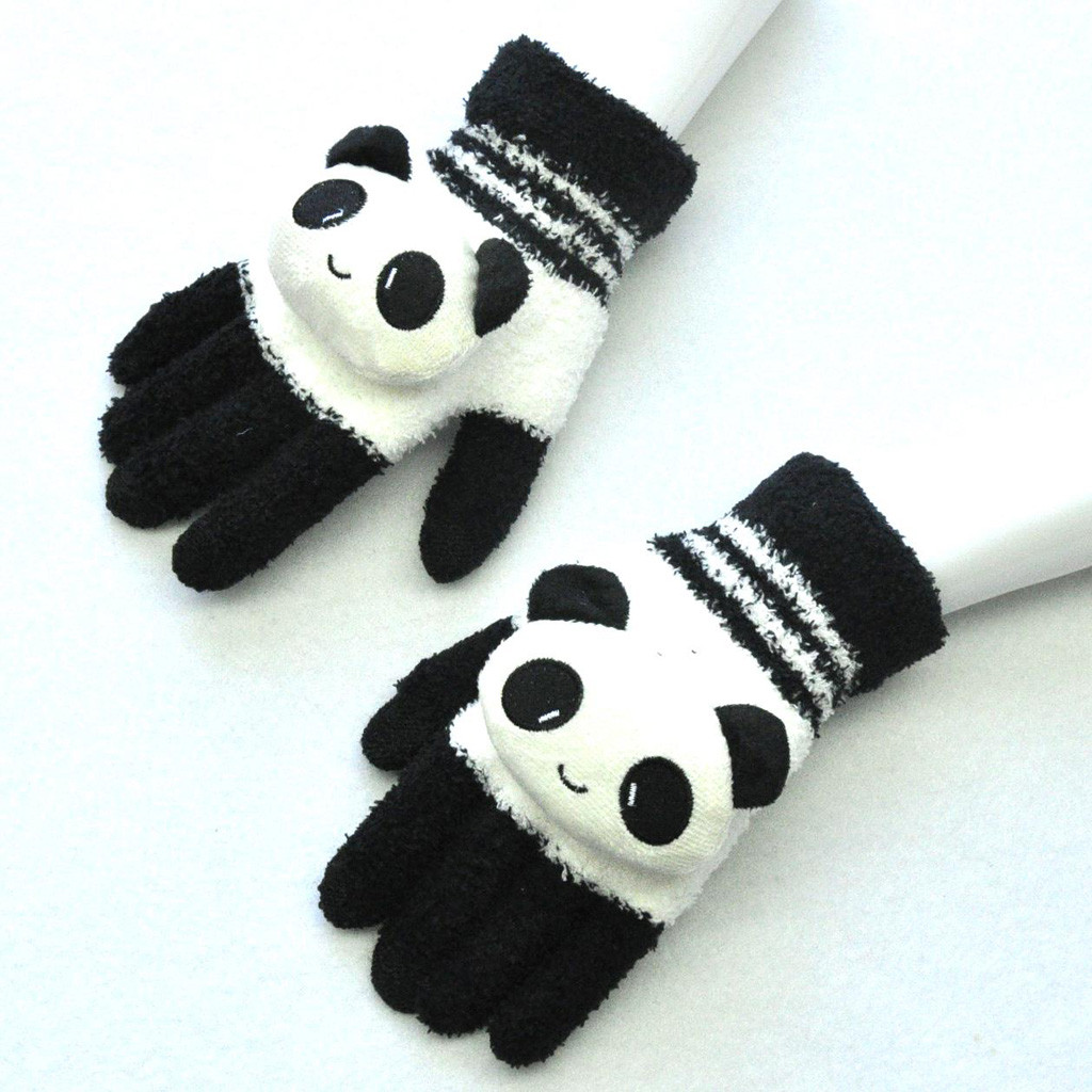 Panda Cartoon Printing Gloves Cute Adult Winter Warm  Knitted Gloves Wapiti Animails  Thickening  Screen Cute Gloves Peluche