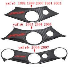 Capa de fibra de carbono para motocicleta, padrão superior, braçadeira tripla para yamaha yzf r6 yzfr6 yzf600 r6 1998-2007
