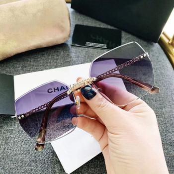 Moda wykwintne oversize trendy bez oprawek luksusowych marek kobiet okulary dla dorosłych dla uv400 FDA CE TEST tanie i dobre opinie atao CN (pochodzenie) WOMEN Z tworzywa sztucznego ROUND Dla osób dorosłych Z poliwęglanu polaryzacyjne 3 0CM ZG-S-018