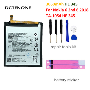 DCTENONE HE345 3060mAh запасная батарея для Nokia 6 2nd 6 2018 TA-1054 HE 345 батареи Bateria + Бесплатные инструменты