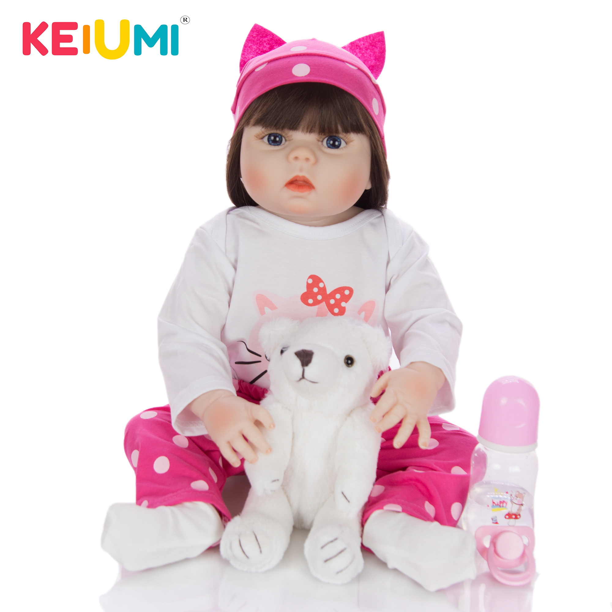 Girl Dolls Reborn Toy Bebe-Toys Vinyl KEIUMI Realistic Baby Full-Silicone 57CM 23-Gifts