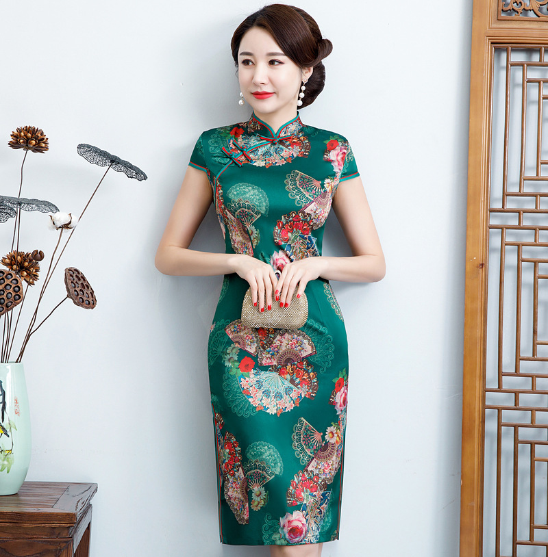Sexy Slim  Traditional Chinese Dress Vintage Mandarin Collar Qipao Vestidos Women's Satin Qipao  Cheongsam Flower Size M-4XL