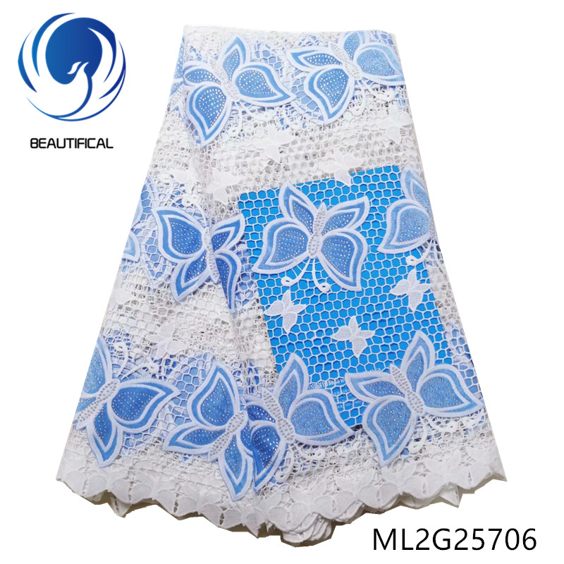 BEAUTIFICAL african lace fabrics Latest design Guipure lace with Butterfly pattern Flannel fabrics with stones 5yards ML2G257 - 6