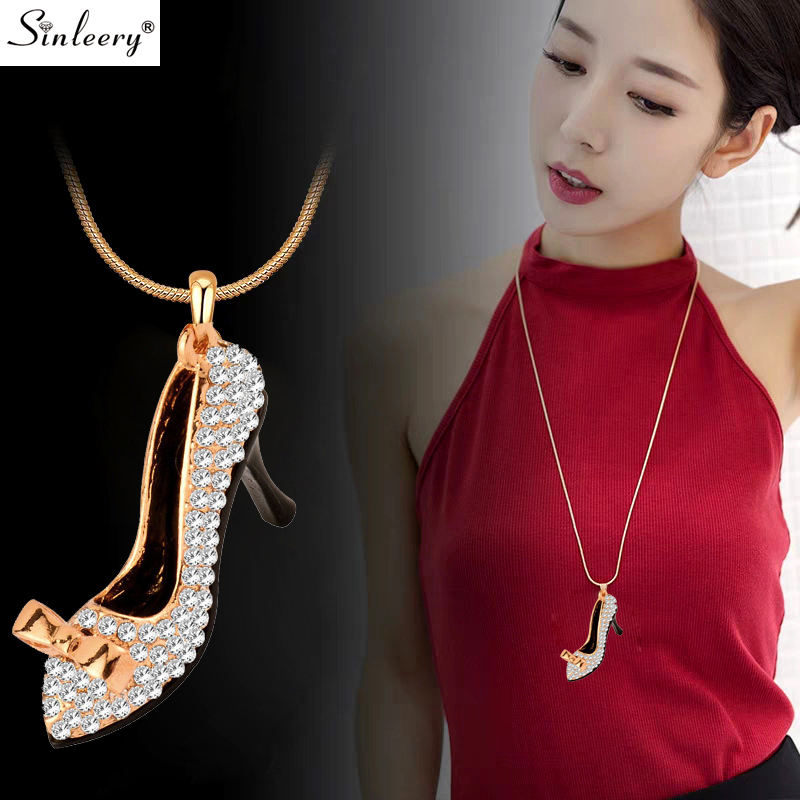 SINLEERY Charm Crystal High heel Shoes Pendant Long Necklace For Women Party Jewelry Accessories Gold Color Chain MY390