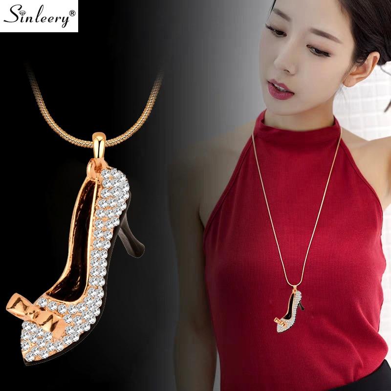SINLEERY Charm Crystal Högklackade skor Hänge Lång halsband för kvinnors party smycken Tillbehör Guldfärgad kedja MY390