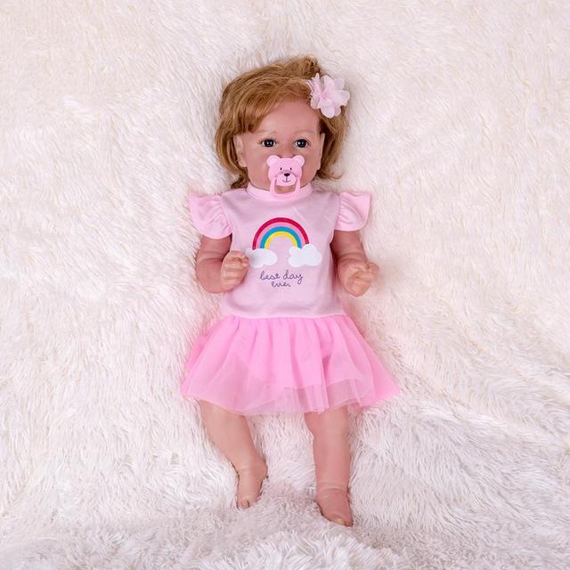 22 cali Saskia serii Oaklynn Reborn lalka dziewczynka lalka kostium zestaw akcesoriów-silikonowe winylu/tkaniny ciała (tkaniny jest losowo)