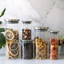 Glass Airtight Cans / Food Storage Jar/Glass Canister With Stainless Steel Lid tea coffee beans Container