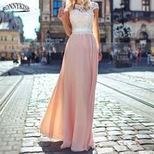 RONNYKISE Sexy Lace Long Dress Womens Fashion Sleeveless Vestido Backless Elegant Evening Party Dresse