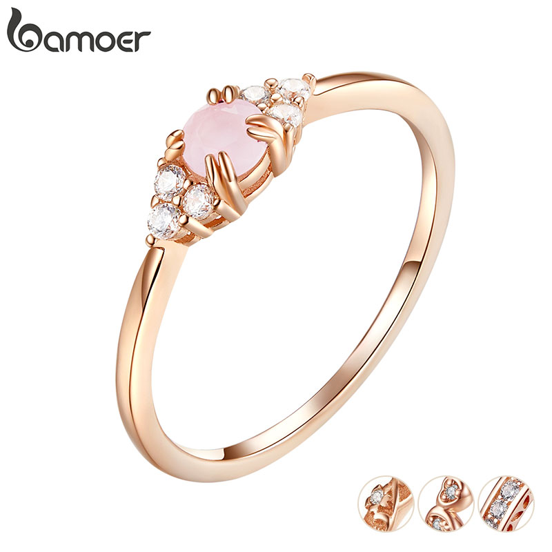 bamoer Pink Crystal Finger Rings for Women Rose Gold Color Authentic 925 Stelring Silver Band Ring Luxury Fine Jewelry SCR534(China)