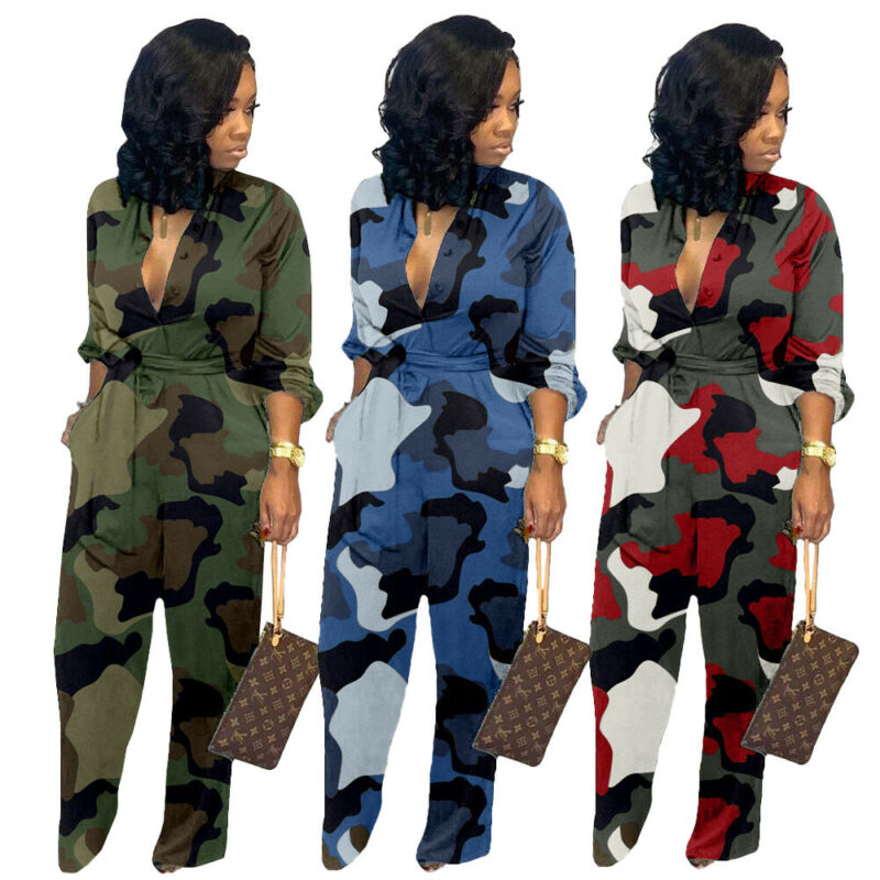 Hirigin New Women Sexy Long Sleeve Button Tie Camo Jumpsuit Rompers Party Suits Clubwear