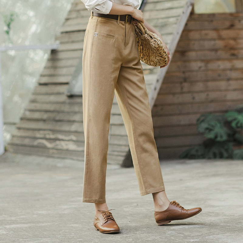Image 4 - INMAN 2020 Spring New Arrival Literary Retro High Wasit Front Pocket Loose Slimming Ankle length TrousersPants & Capris   -