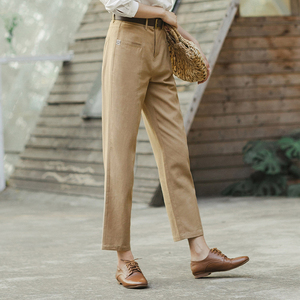 Image 4 - INMAN 2020 Spring New Arrival Literary Retro High Wasit Front Pocket Loose Slimming Ankle length Trousers