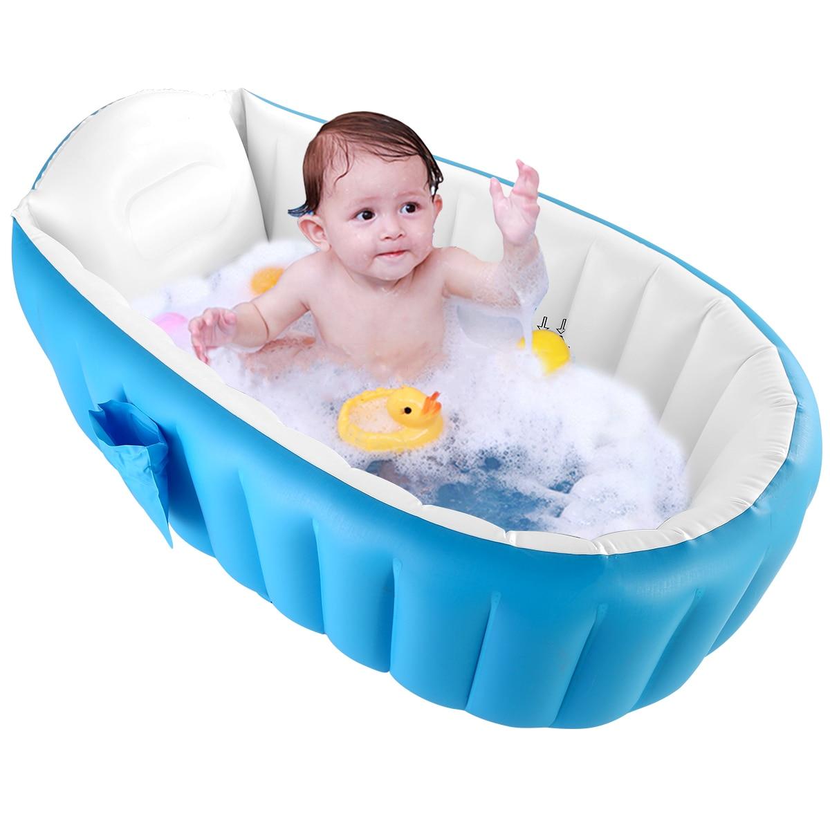 Newborn Baby Bath Basin Safety Inflatable Bathtub Collapsible Air Swimming Pool Child Tub No Cushion Foot Air Pump Coussin Bain