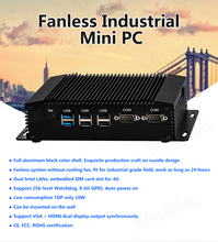 Eglobal Small Industrial computer intel celeron j1900 quad core with HDMI+VGA Pfsense Router Windows dual lan 2com ports mini pc