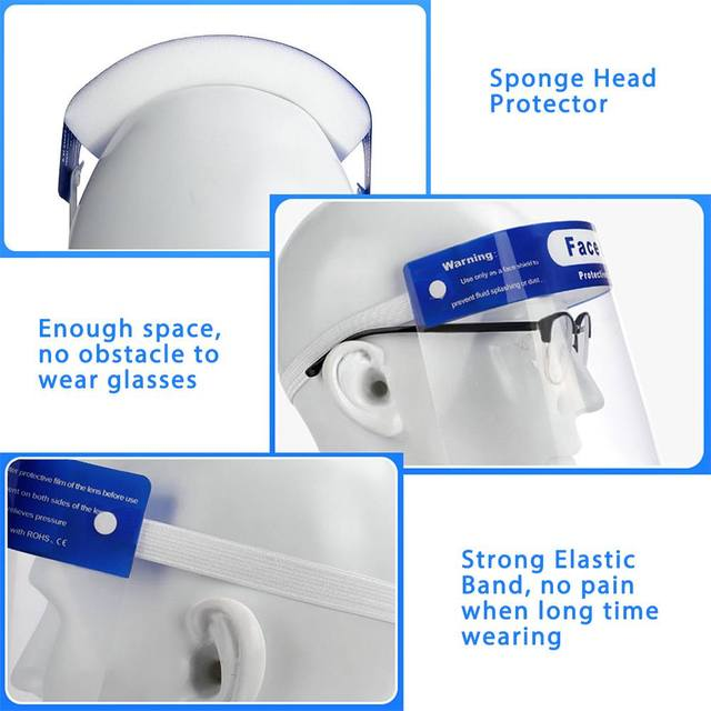 5/10/16/20x Safety Full Face Mask Helmet Clear Face Shield Cover Transparent Lens Film Protector Anti-fog anti-droplets 1