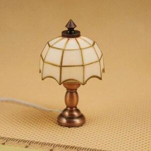 1/12 миниатюрный зонт-абажур для кукольного домика, светодиодный светильник, декор для кукольной комнаты