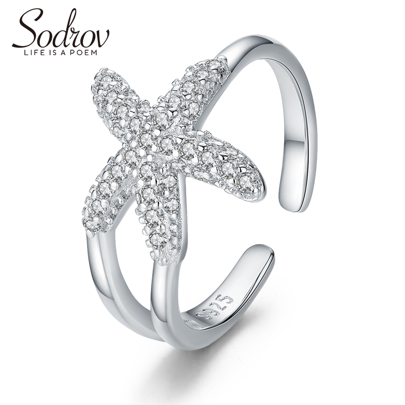 SODROV Genuine 925 Sterling Silver 925 Jewelry Open Size Adjustable Ring For Women Silver Starfish Ring 925 Jewelry