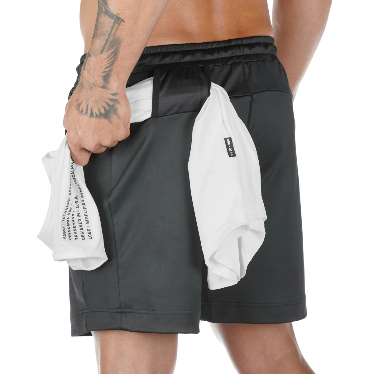 summer Solid color mesh compression quick-drying   shorts   men's sweatpants gyms Fitness Men   shorts   slim fit clothes