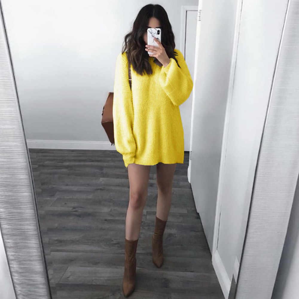 Kadın kazak kore Kawaii o-boyun gevşek örme sıcak uzun fener kollu kış kazak kadın ceket çekin Femme Nouveaute # T2