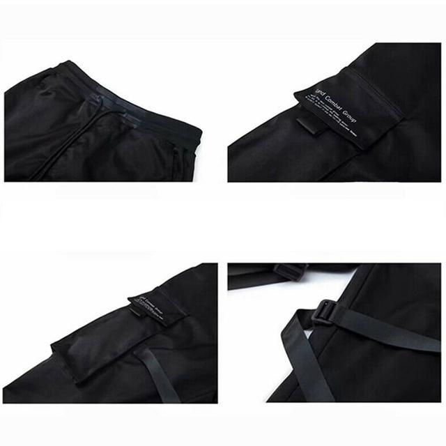 Hip Hop Boy Multi-pocket Elastic Waist Design Punk Casual Trousers Jogger Harem Pant Men Street wear Male Dancing Black Pant 4
