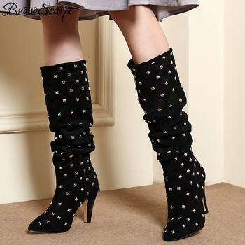 Sexy Rivets Pleated Women Boots Brand Designer Metal Studs Women High Heel Boots Girls Party Prom Fashion Botas Mujer Big Size