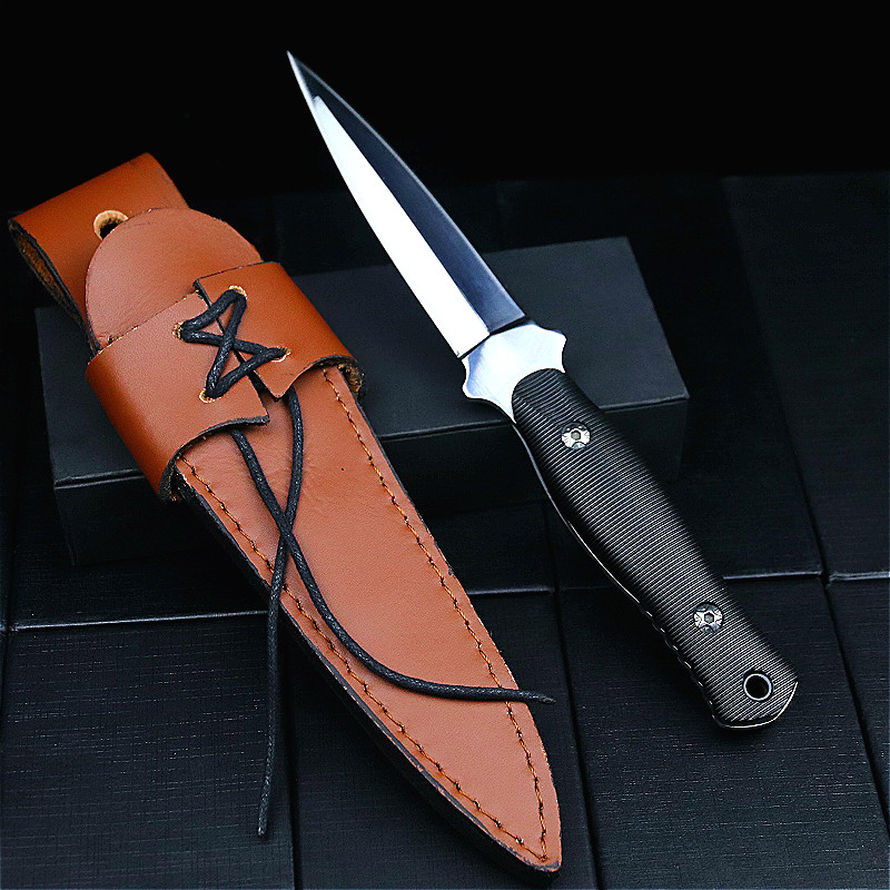 Japanese mirror light portable tactical knife outdoor hunting straight knife survival tool outdoor fishing knife + leather cover 1