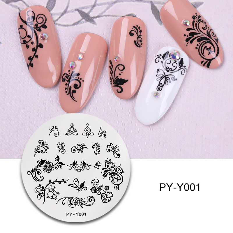 PICT YOU Flower Leaves Pattern Nail Stamping Plate Natural Stamp Templates Stainless Steel Round Shape Magic Nail Art Templates