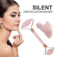 Rose Quartz Powder Crystal Jade Roller Massage Spa Natural Pink Handmade Gua Sha Stone Facial Beauty Device Face Skin Care Tool 3