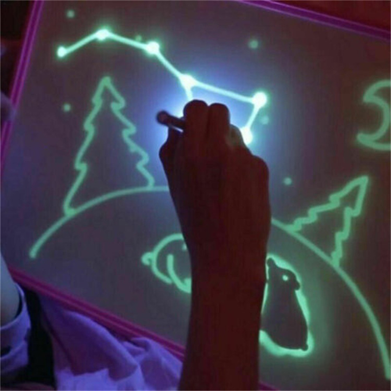 Draw With Light In Dark Children Kids Funny Toy Drawing Board Set English Russian Langues 2019 Boys Girls Christmas Toy Gifts