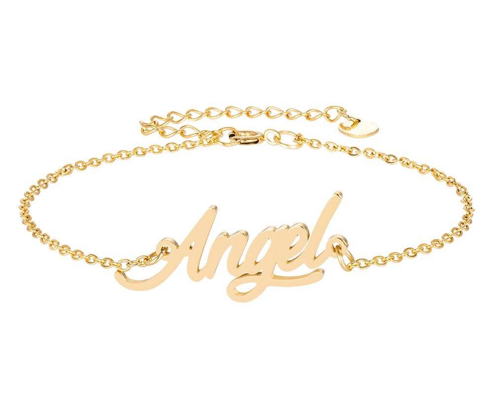 Ангел имя браслет для женщин, ювелирные изделия для девушек, из нержавеющей стали, покрытой 18k позолоченный кулон-табличка с именем Femme Mother, п...