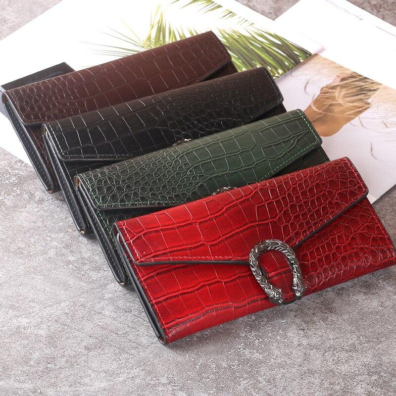 Women Wallet Long Style Crocodile Leather Alligator Ladies PU Korean Simple Clutch
