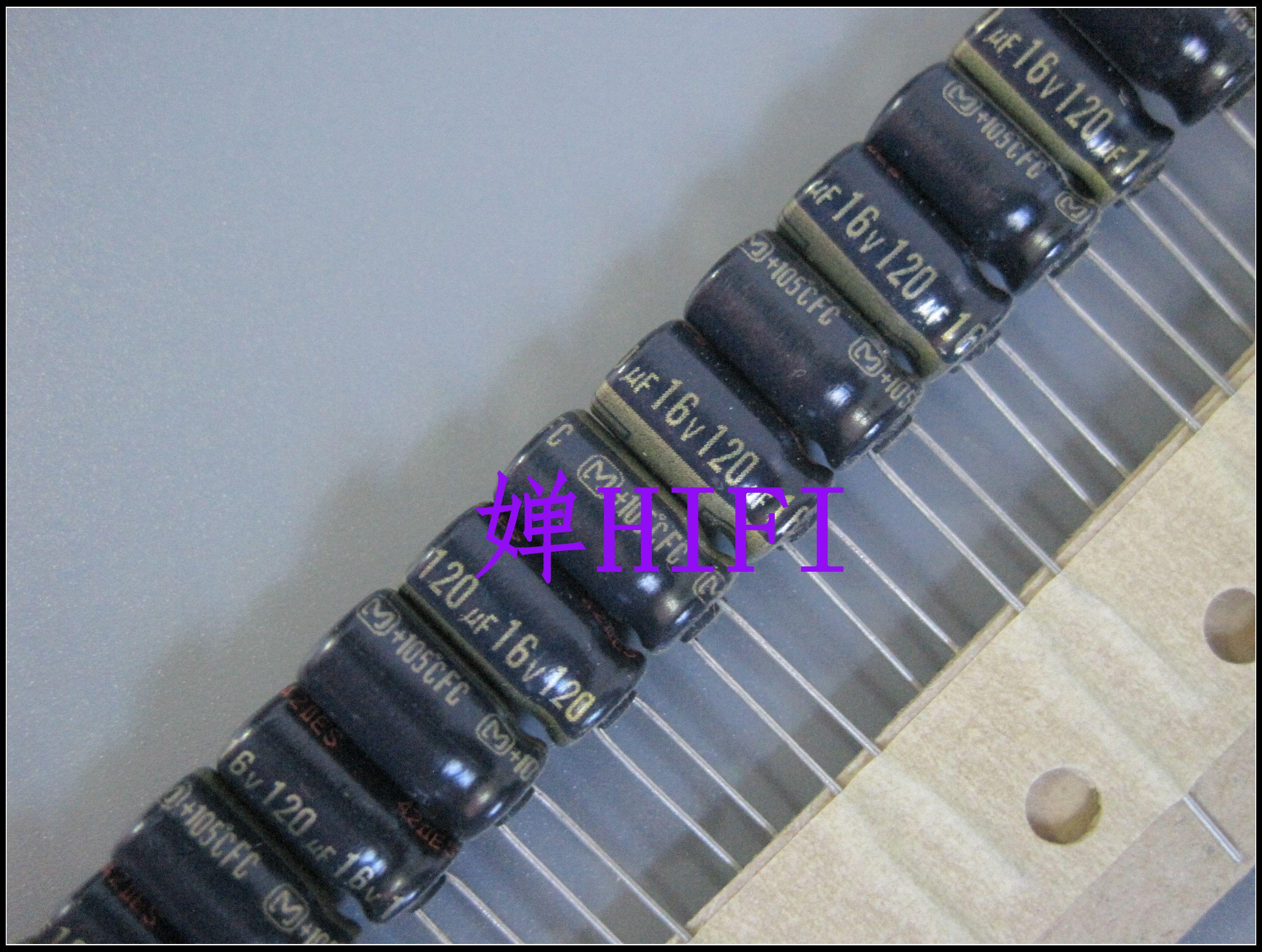 50pcs New Matsushita FC 16V120UF 6.3X11MM 120UF 16V Audio Electrolytic Capacitor 120uF/16V Gold Word