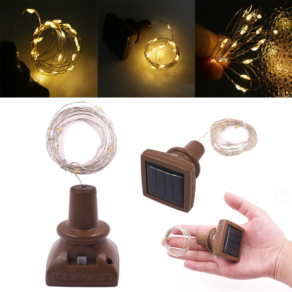 1PC 1M 10LED 2M 20 LED Wine Bottle Cork Copper Wire Fairy Lights Christmas Holiday Party String Lights Solar Powered