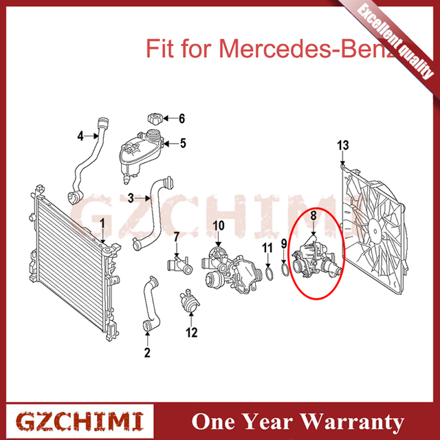 2702000615 Good Qulity Engine Coolant Thermostat Housing for Mercedes-Benz M270 M133 CLA GLA 180 200 250 A2702000415 A2702000615 5