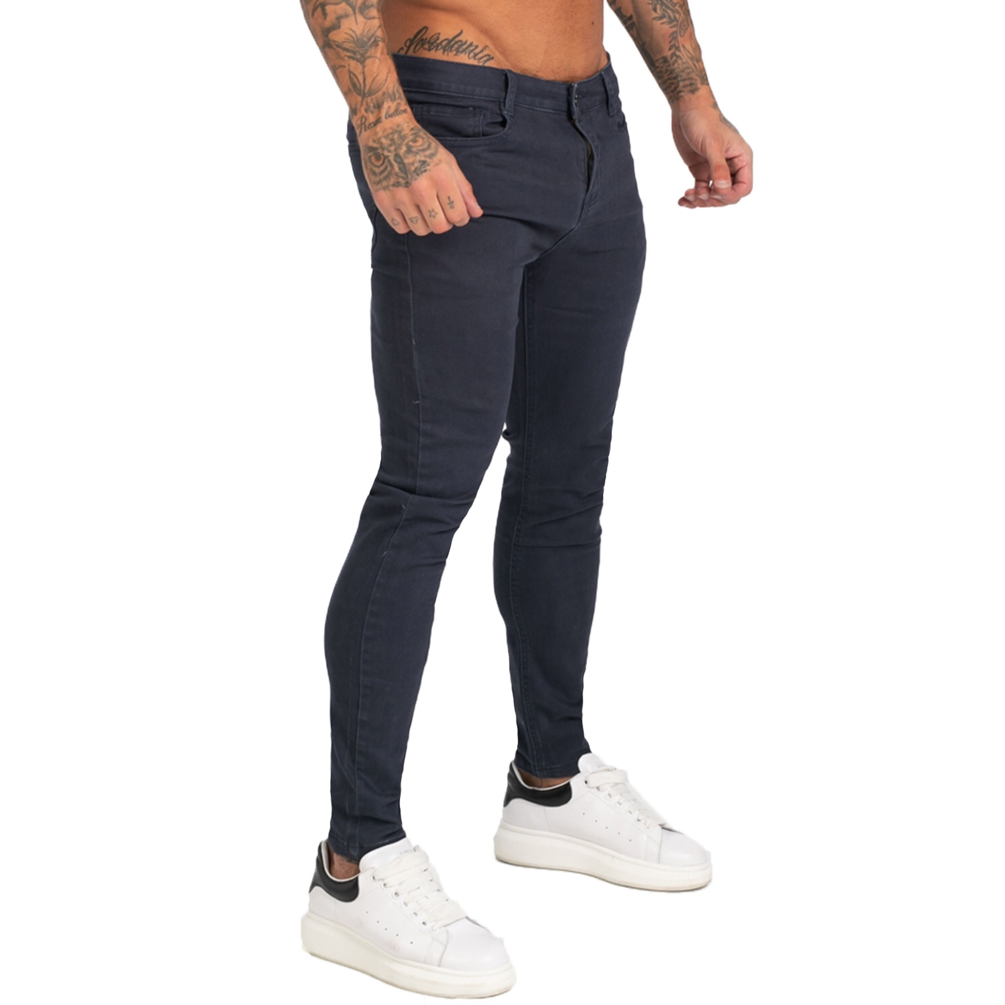 GINGTTO Mens Jeans Denim Stretchy Pants Super Skinny Fit Mens Jeans Elastic Waist Bestting For Athletic Body Hip Hop Zm172