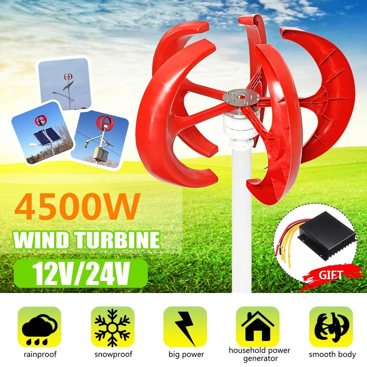 4500w 5 laminas 12v 24v eixo vertical turbinas eolicas gerador lanterna kit de motor eletromagnetico para