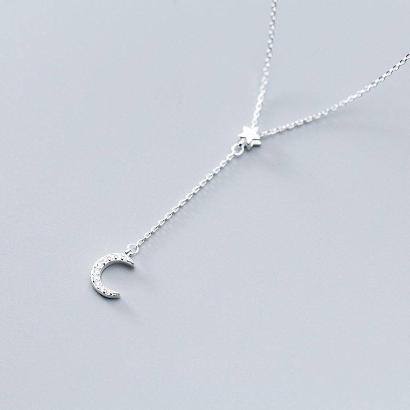 New Crystal Moon Star 925 Sterling Silver Necklaces for Women Jewelry Fashion Statement Zircon Stone Tassel Chokers Necklace